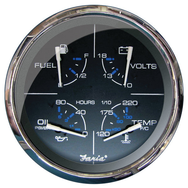 "Faria 5"" Multifunction Gauge Chesapeake Black w-Stainless Steel - Fuel, Oil (PSI), Water Temp & Voltmeter"