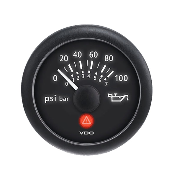 "VDO Viewline 2-1-16"" (52MM) Onyx Oil Pressure Gauge (100 PSI)"