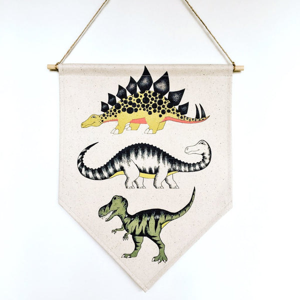 Triple Dinosaur Canvas Banner