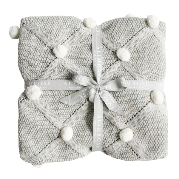 Organic Pom Pom Blanket Grey and Ivory
