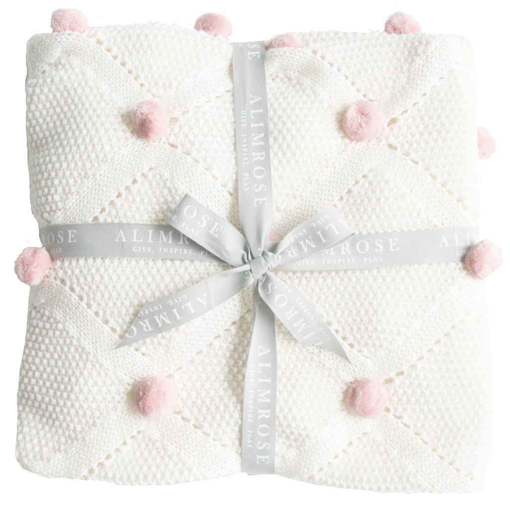 Organic Pom Pom Blanket Ivory and Pink