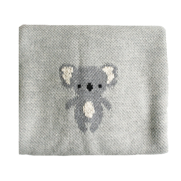 Organic Cotton Koala Baby Blanket Grey