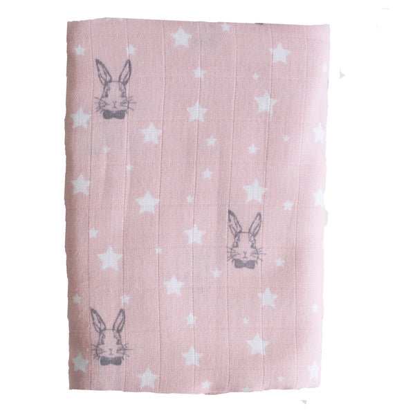 Muslin Swaddle Pink Bunny Stars