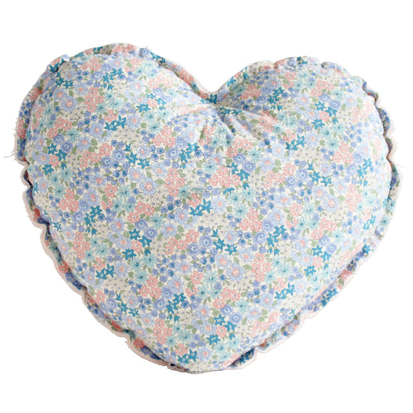 Heart Cushion Pink and Liberty Blue