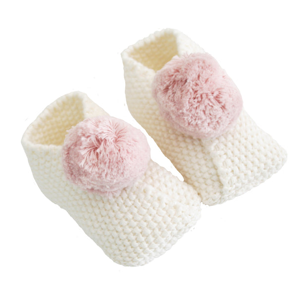 Pom Pom Slippers Ivory and Pink