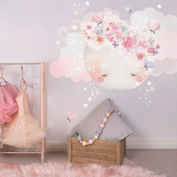 Sleepy Moon Wall Sticker Pink