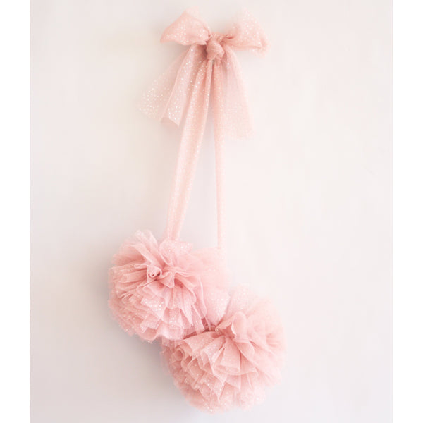 Tulle Pom Pom Decor- Sparkle Blush