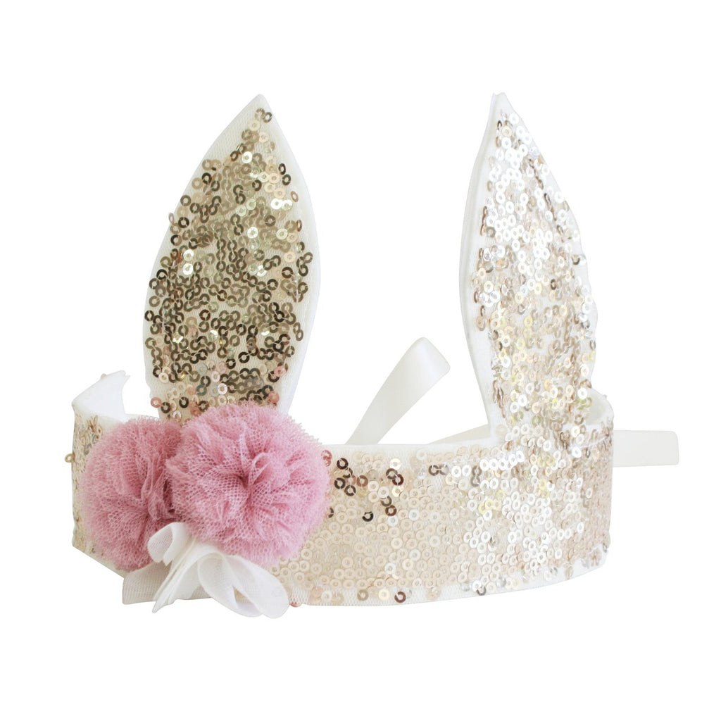 Sequin Bunny Crown Gold
