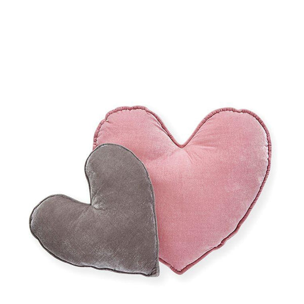 Grey Velvet Heart Cushion