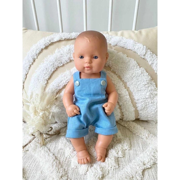 Riley Romper (unisex) Denim Look Linen