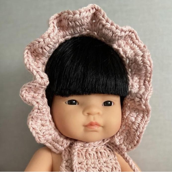 Doll's Ruffle Bonnet Baby Pink