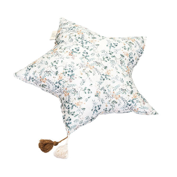 Grey Branches Large Muslin Star Pillow