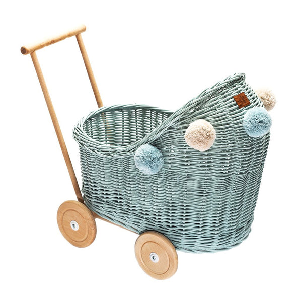 Wicker Dolls Pram Dirty Mint