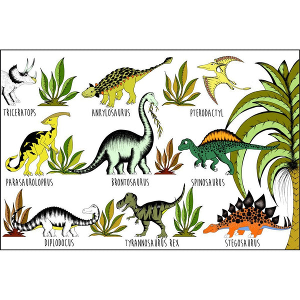 In The Jungle Dinosaur Name Chart Art Hanger
