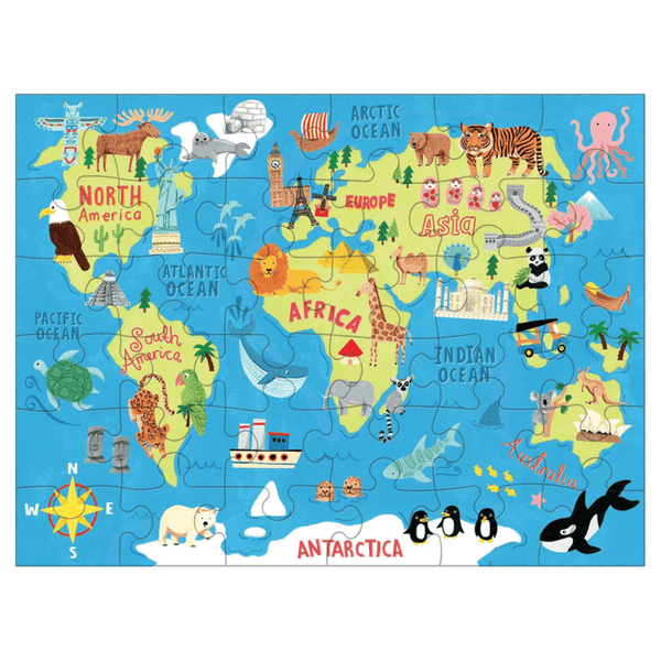 Mudpuppy Map of the World To Go Puzzle