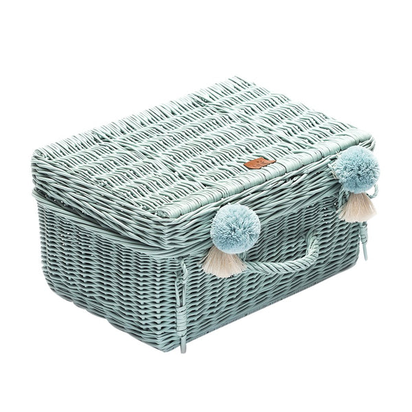 Wicker Suitcase Dirty Mint