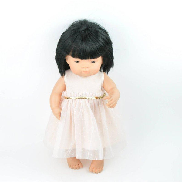 Miniland Doll Peach Party Dress