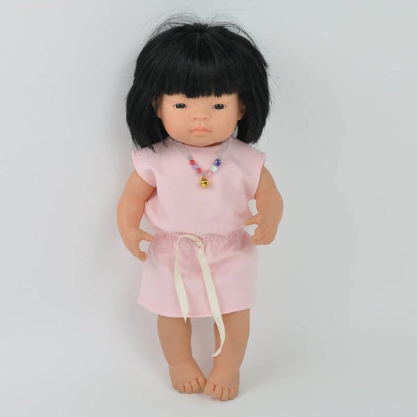 Miniland Doll Pink Cotton Dress