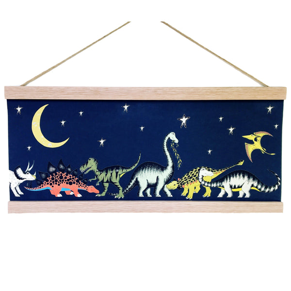Dinosaur Gathering Stars and Moon Art Hanger