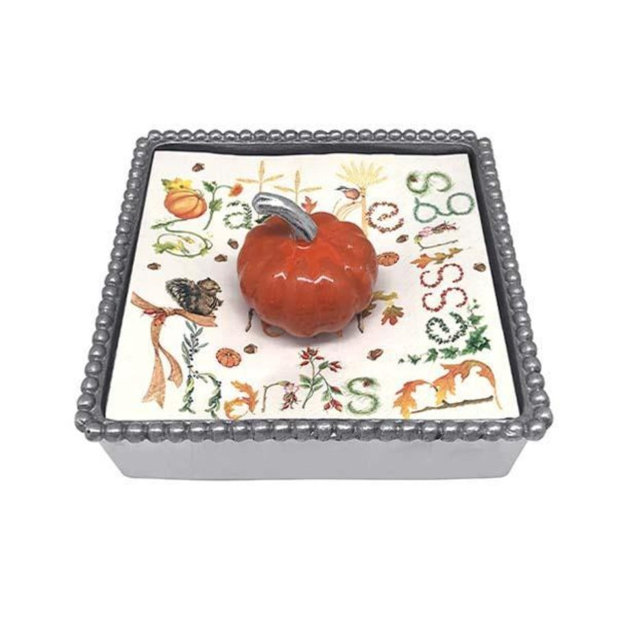 Beaded Napkin Box - Orange Pumpkin