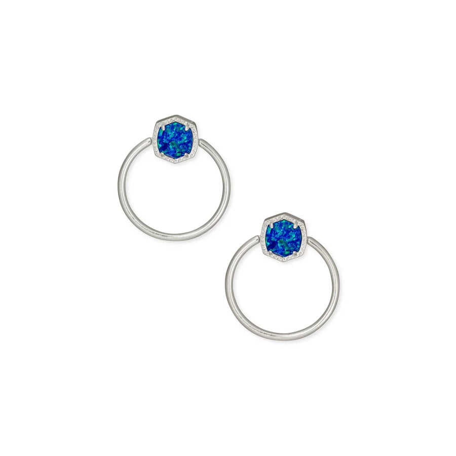 Davie Silver Hoop Earrings In Royal Blue Kyocera Opal