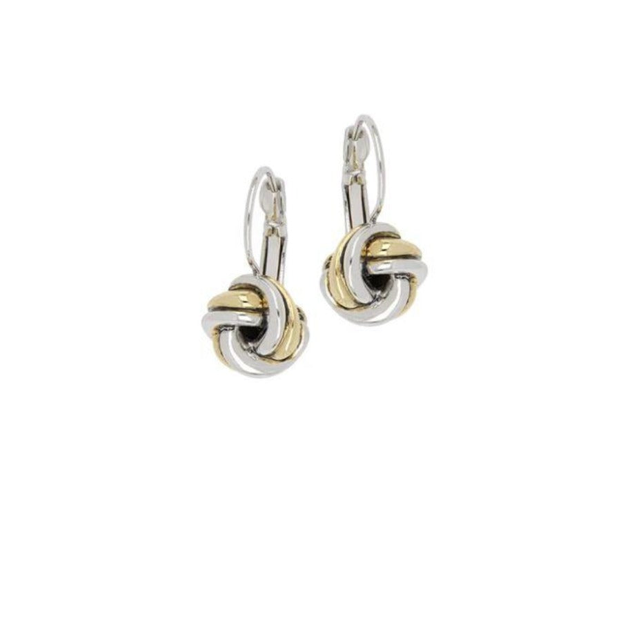 Infinity Knot Two Tone French Wire Earrings