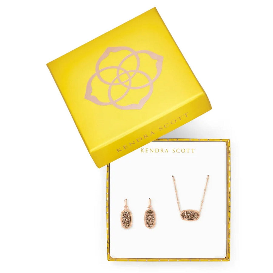 Elisa Satellite Necklace & Lee Earrings Gift Set In Rose Gold Drusy