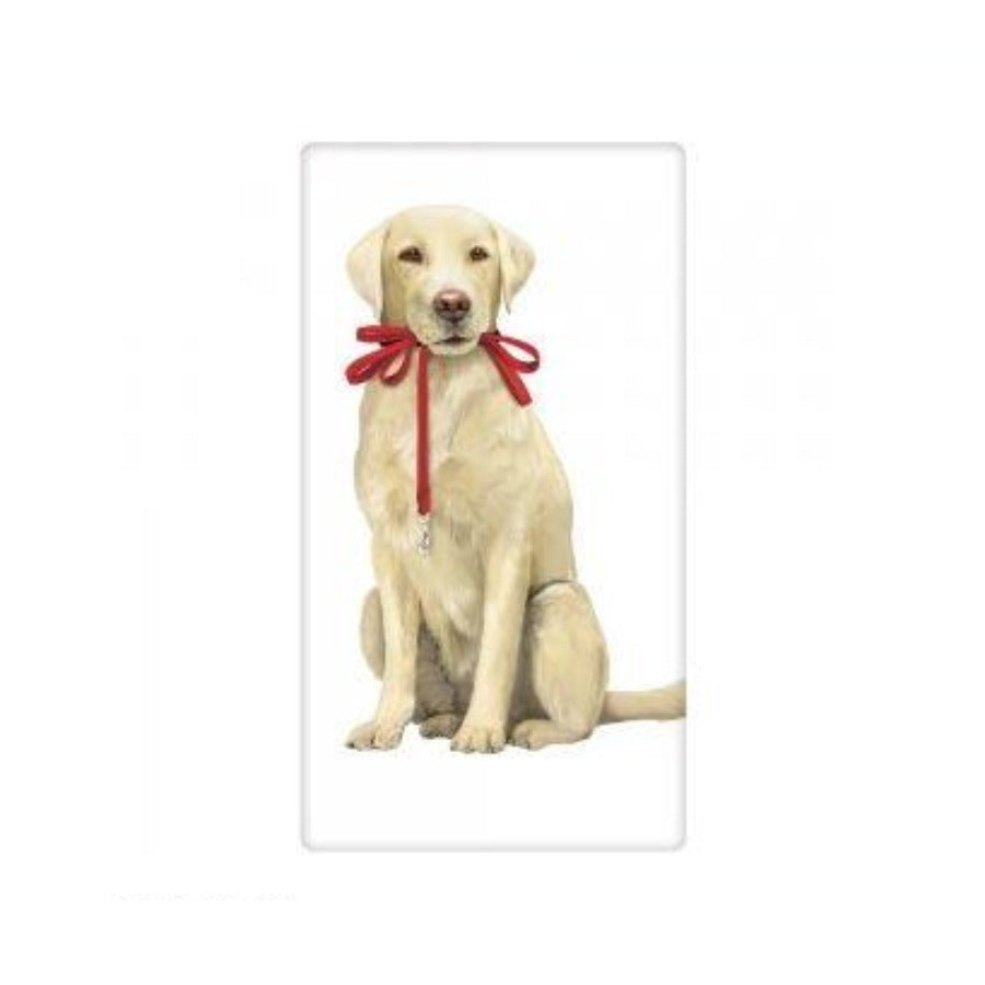 Flour Sack Dish Towel - Yellow Lab with Leash