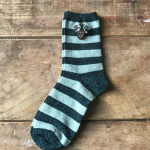 Socks - Mint Stripe Sparkly Socks with Bee Pin