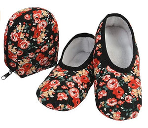 Travel Slippers - Black Floral