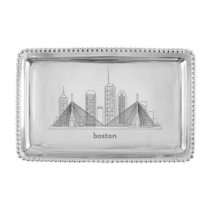 Beaded Tray - Boston Skyline