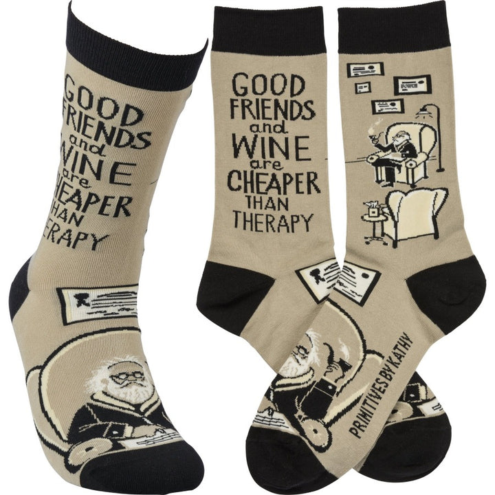 Socks - Friends & Wine Cheaper Than Therapy