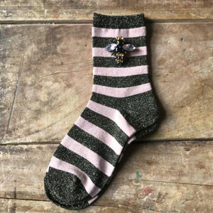 Socks - Powder Pink Stripe Sparkly Socks with Bee Pin
