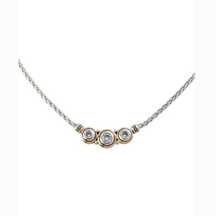 Beijos Three Stone CZ Necklace