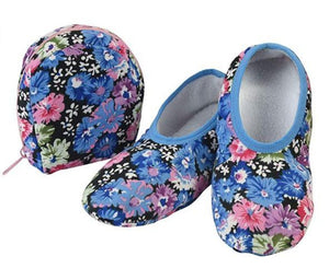 Travel Slippers - Blue/Pink Floral
