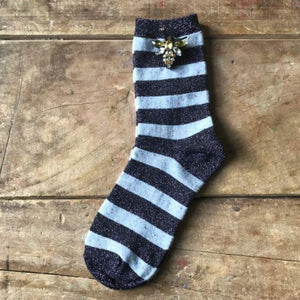 Socks - Lavender Stripe Sparkly Socks with Bee Pin