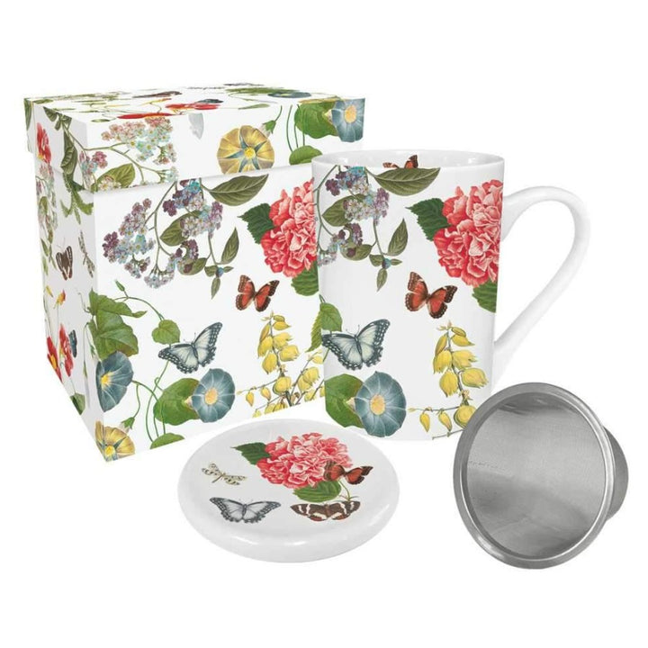 Victoria Garden - Gift-Boxed Tea Mug with Lid and Strainer
