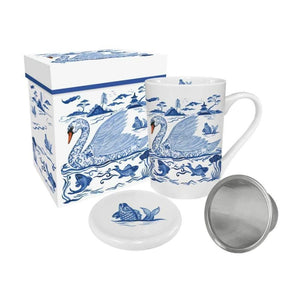 Empress' Swan - Gift-Boxed Tea Mug with Lid & Strainer