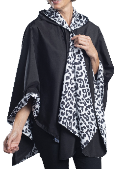 RainCaper - Black/ White Animal Print Reversible Travel Cape