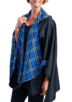 RainCaper - Black & Royal Tartan Travel Cape & Womens Rain Coat