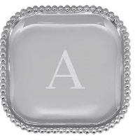 "Beaded Platter - 10"" x 10"" - Engraved with the initial ""A"""
