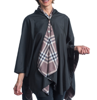 RainCaper - Black & Coco Plaid Reversible Travel Cape