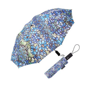 RainCaper - Tiffany Clematis Folding Travel Umbrella