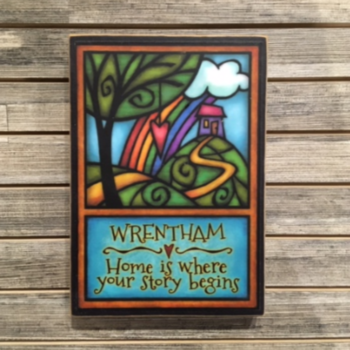 Wood Plaque - Wrentham - Home is where your story begins