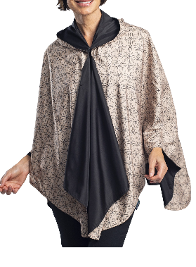 RainCaper - Black/Camel Kelsey Print Reversible Travel Cape