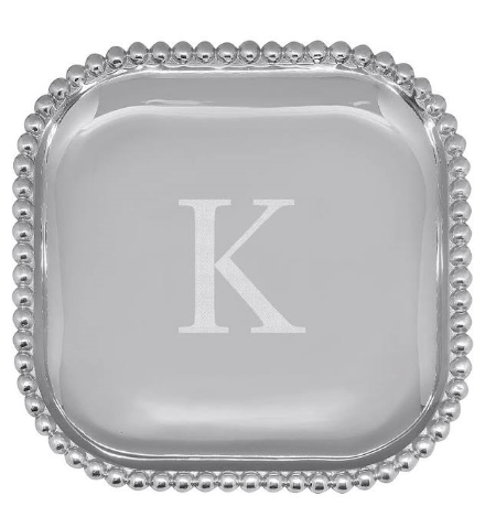 "Beaded Platter - 10"" x 10"" - Engraved with the initial ""K"""