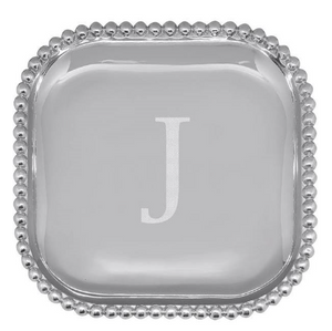 "Beaded Platter - 10"" x 10"" - Engraved with the initial ""J"""