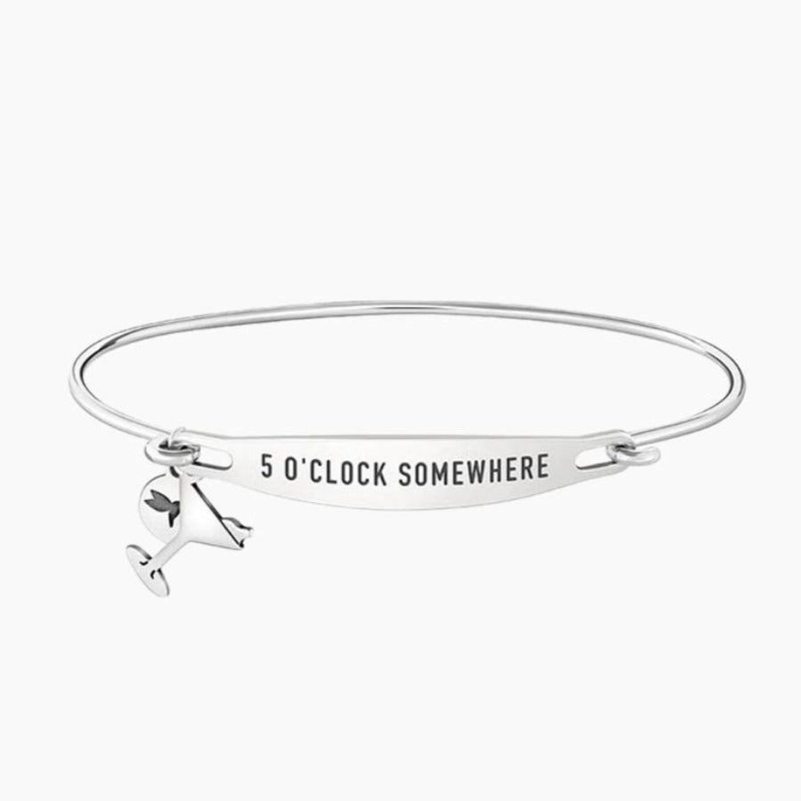 Chamilia-5 O'clock Somewhere Spoken ID Bangle in Silver