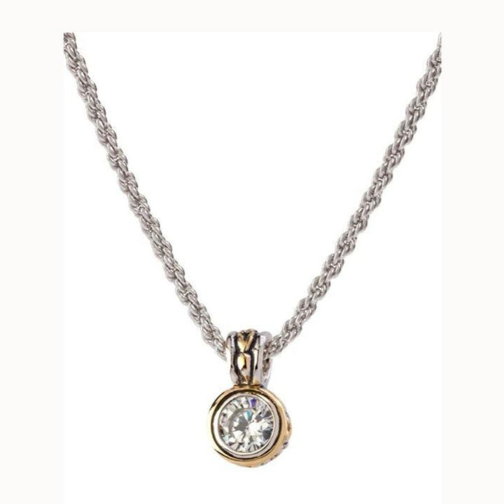 Beijos 7MM CZ Bezel Set Pendant Necklace
