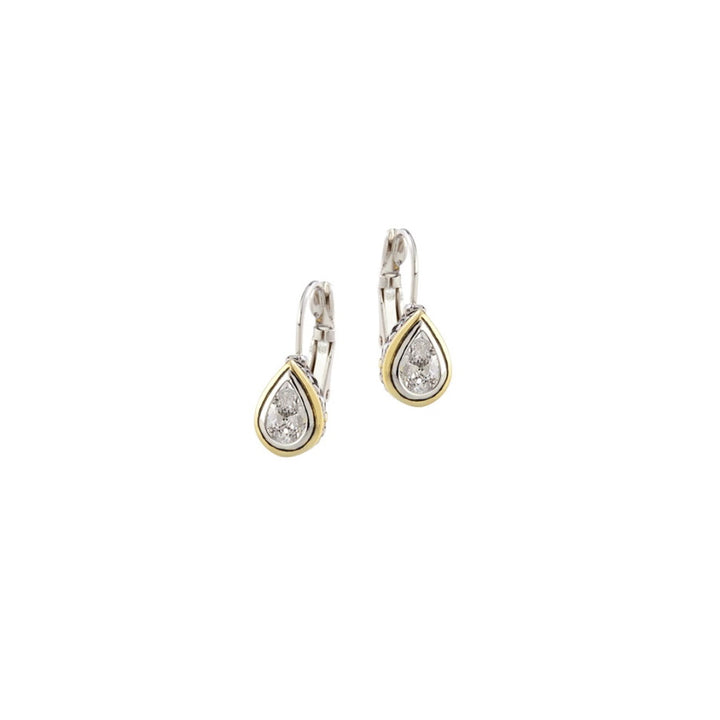 Beijos 8x5mm Pear CZ Pear Shape Bezel Set Earrings